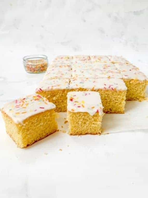 gluten free school dinner cake sliced into square pieces