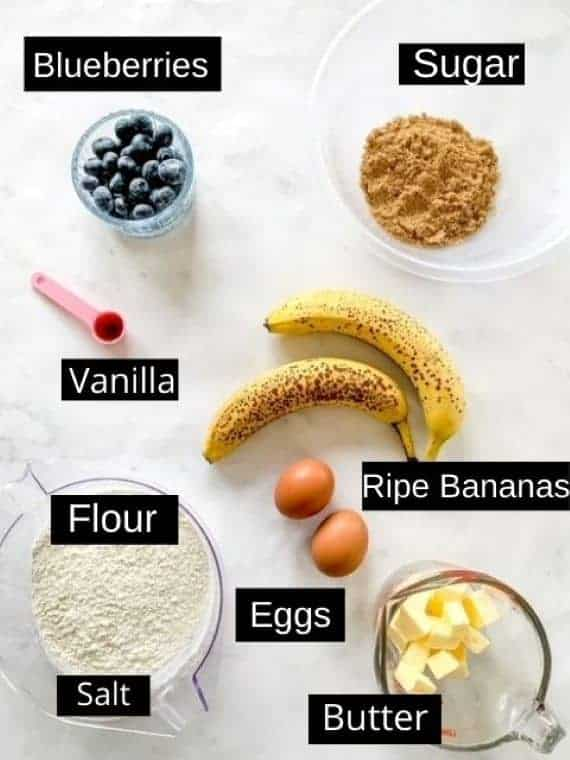 Gluten free blueberry banana bread labelled ingredients
